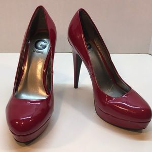 G by Guess Red Platform Pumps Size 10W